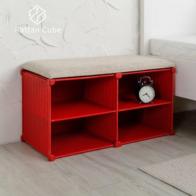 【藤立方】組合穿鞋椅(附2片層板)-紅色-DIY
