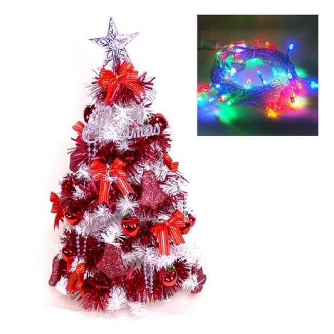 【摩達客】台灣製2尺(60cm))經典白色聖誕樹(紅色系)+LED50燈插電式透明線彩光