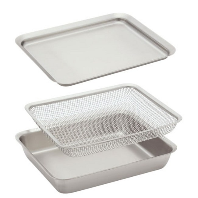 日本《la base有元葉子》不鏽鋼長型調理碗/盤&過濾網‧三件組