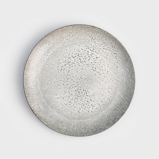 WAGA 日式 春泥春痕27cm陶瓷圓盤-泥米灰
