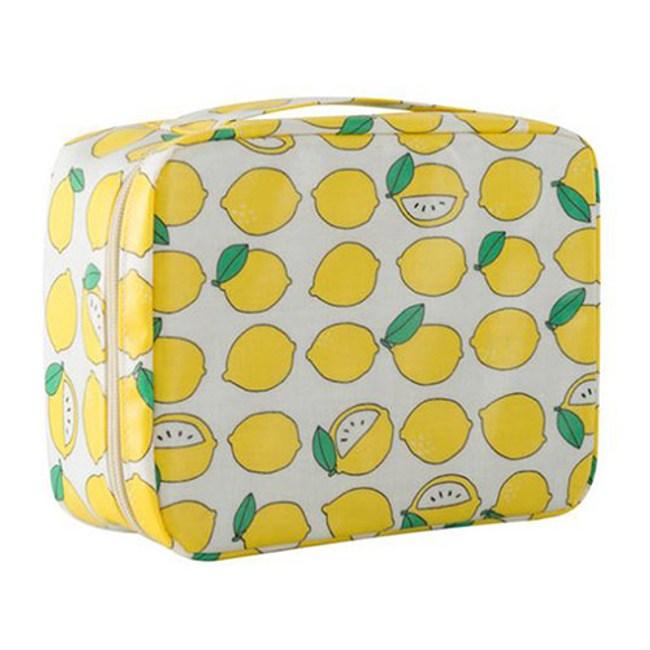 【韓版】可愛繽紛加厚大容量防潑水盥洗化妝包(4色)-清新檸檬