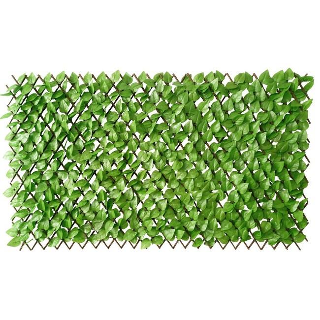 柳條伸縮籬笆含塑膠淺綠葉 1X2米