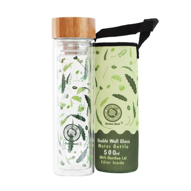 GREEN BELL綠貝 四季雙層玻璃隨身瓶500ml-綠意夏(附提袋)