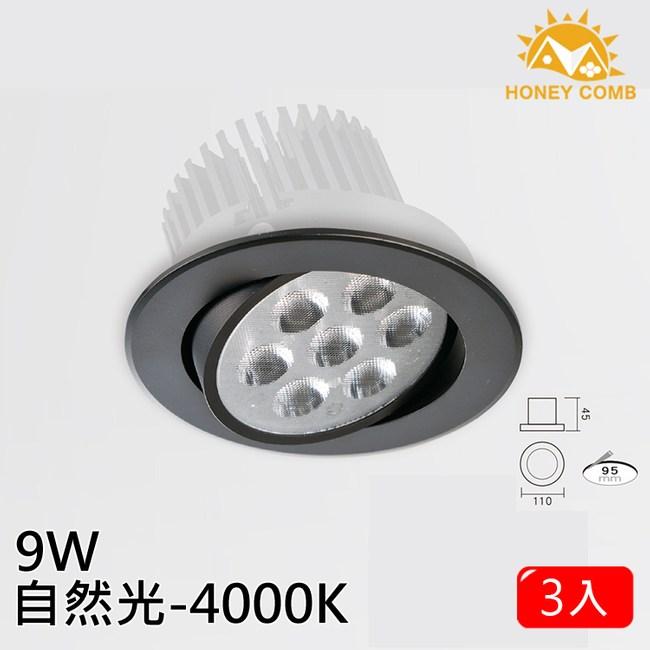 HONEY COMB LED 9W高效能崁燈 3入一組 自然光 TAD03414