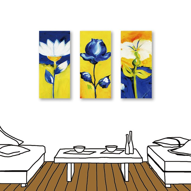 24mama掛畫 三聯式 藍白花卉 油畫風 無框畫 23x50cm