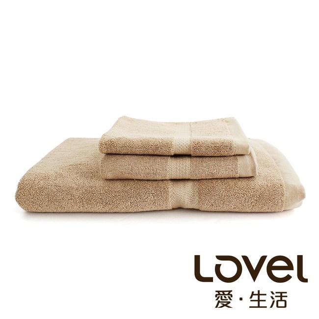 Lovel 嚴選六星級飯店素色純棉3件組(浴巾/毛巾/方巾)-椰褐