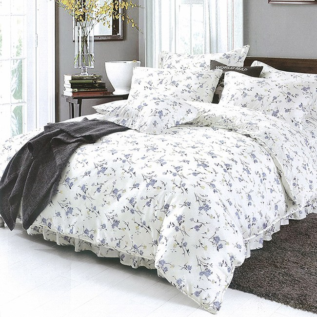 【Indian】100%純天絲單人三件式鋪棉床包兩用被組-木槿花開3.5*6.2