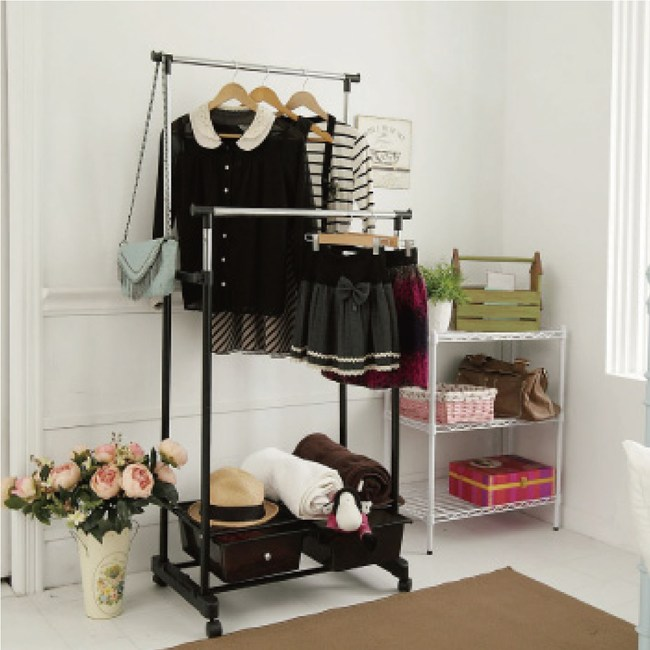 【H&R安室家】移動式雙桿抽屜收納衣架/衣桿