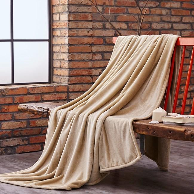 加厚珊瑚絨毛毯150cmx200cm-卡其