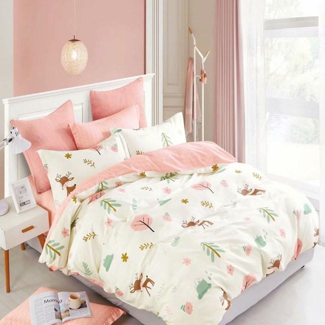 【eyah】100%寬幅精梳純棉雙人床包被套四件組-超萌小鹿