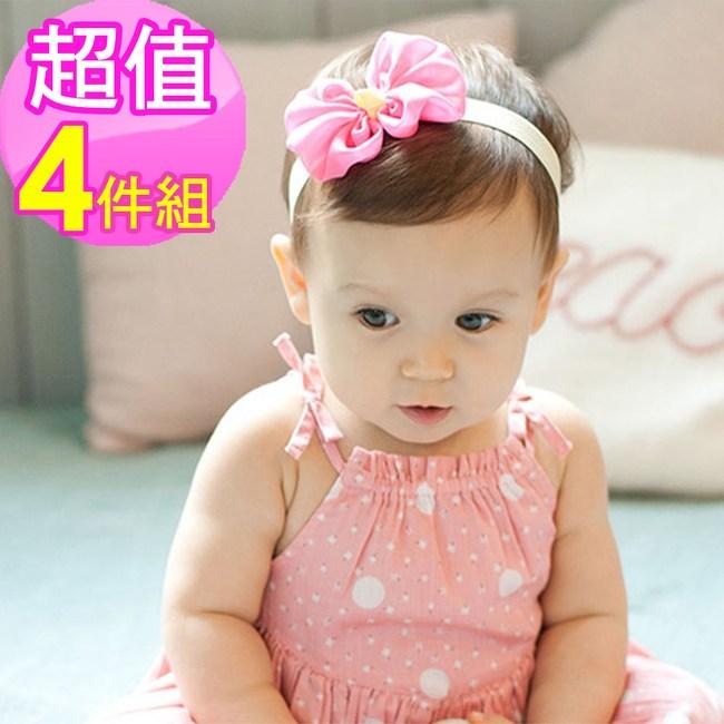 寶寶雪紡蝴蝶結髮帶(4件組)-灰x2+米x2