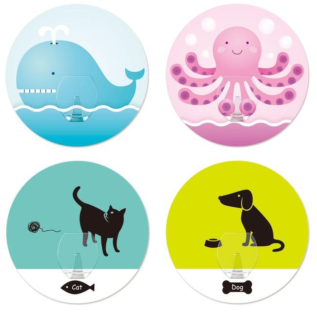 2EASY 台製無痕掛鉤可愛動物系列4入組可愛動物單鉤系列4入組