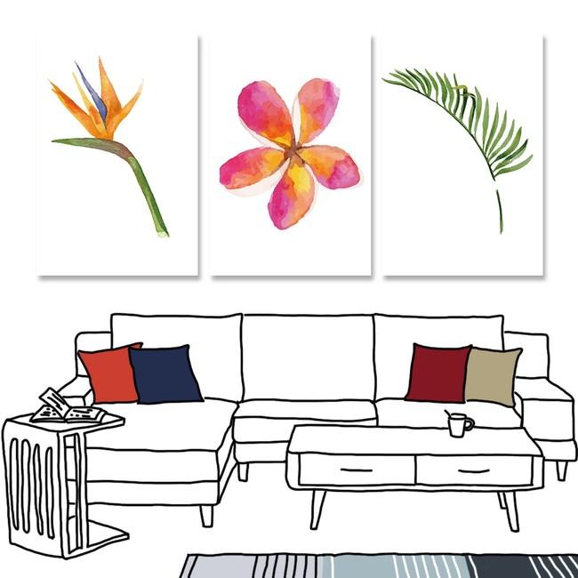 【24mama 掛畫】三聯式油畫布無框畫_40x60cm_熱帶植物10