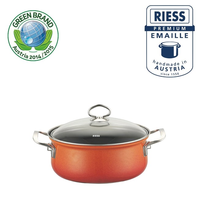 【Riess】奧地利國寶陶瓷琺瑯低身湯鍋20CM(橘)
