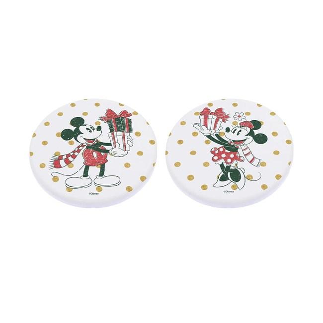 【收納王妃】迪士尼聖誕節珪藻土吸水杯墊方/圓(2入一組)禮物米奇米妮