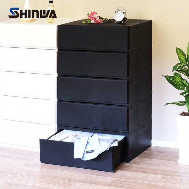 【nicegoods】日本製 伸和五層抽屜收納櫃-DIY時尚黑