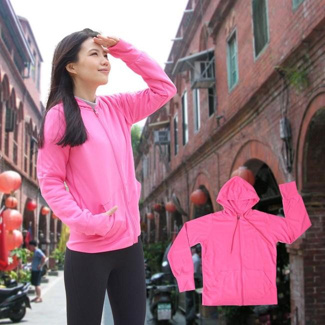 【日本熱銷】COLORFULl抗UV吸排涼感連帽外套(粉色)M號