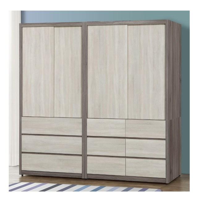 【MUNA 家居】莫托斯7X7尺灰橡雙色推門衣櫥/衣櫃(共兩色)灰橡雙色