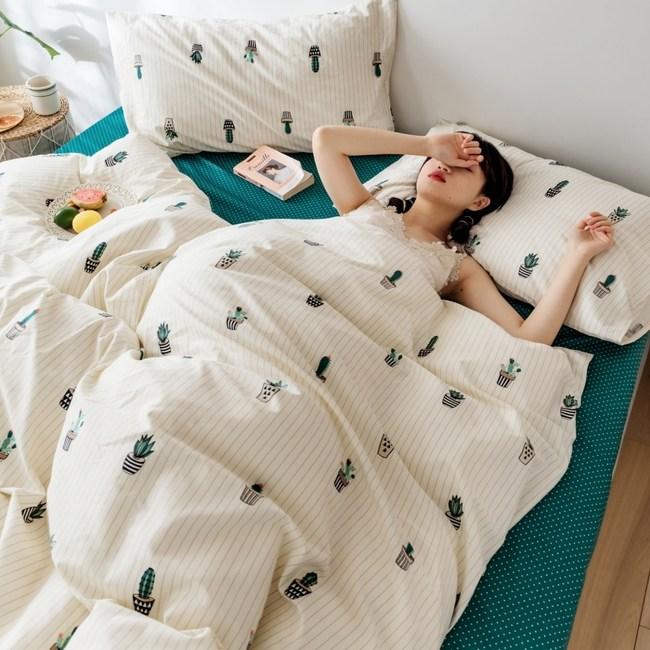 【eyah】台灣製200織精梳棉加大床包新式兩用被五件組-窗前小閒情