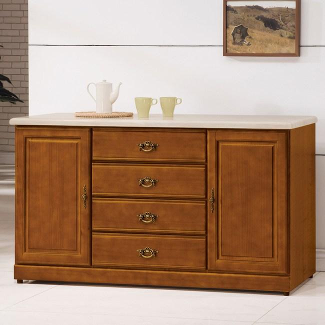 【YFS】艾理斯樟木5尺石面碗盤櫃-149.5x50.5x86cm