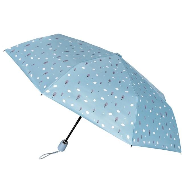 2mm 100%遮光 趣味森林 黑膠降溫自動開收傘(雲朵藍)