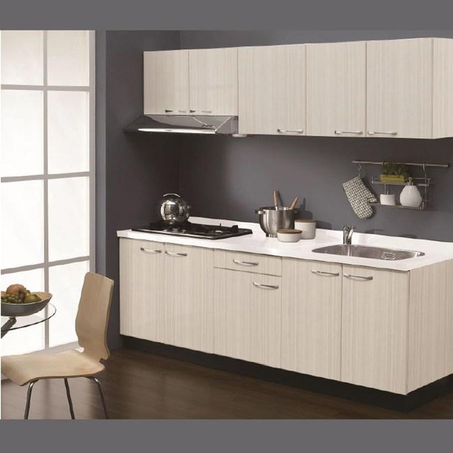 (北區) 定規廚具 寬210cm 深木紋門板白色檯面 LOHAS0017