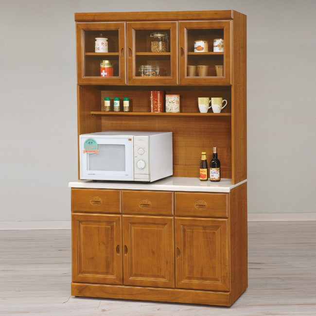【YFS】賈斯特樟木4尺石面餐櫃全組-120.5x41.5x204.2