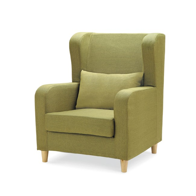 【YFS】凱爾蘋果綠色單人座布沙發-75X80X90cm