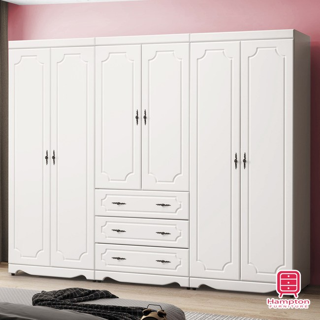 【Hampton 漢汀堡】托比拉烤白8尺衣櫥