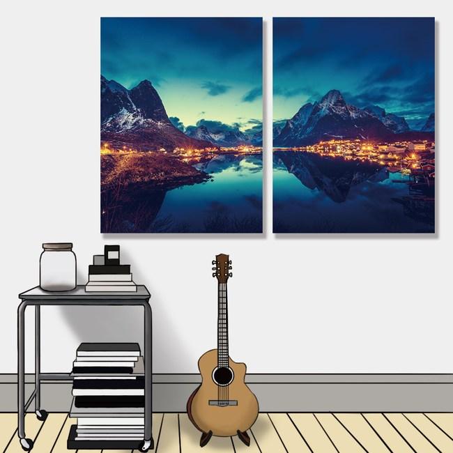 【24mama掛畫】二聯式油畫布無框畫30x40cm-羅弗敦群島雷尼村油畫布無時鐘