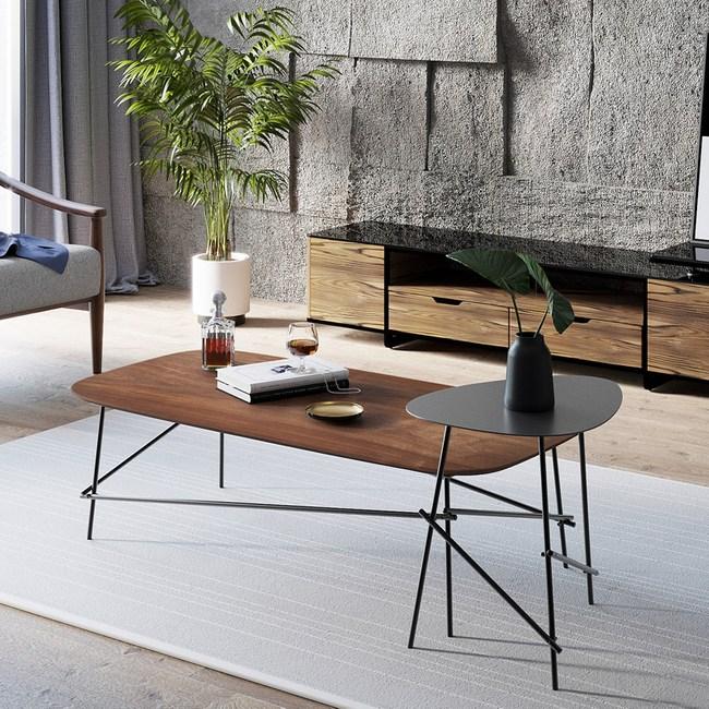 林氏木業北歐時尚鐵製客廳茶几兩件組RAE1L