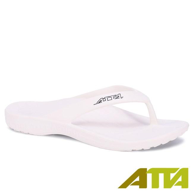 ATTA運動風簡約夾腳拖鞋-白9