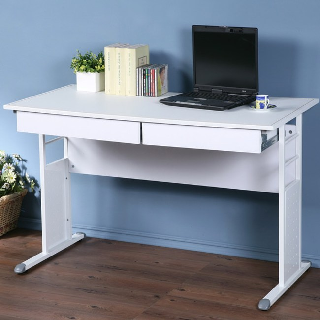Homelike 巧思辦公桌-仿馬鞍皮120cm(抽屜)桌面:白/桌腳:灰/飾板:白