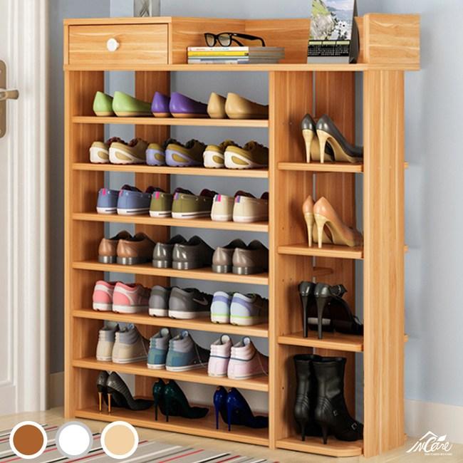 Incare 百搭簡約加大多格收納鞋櫃-八層古檀木