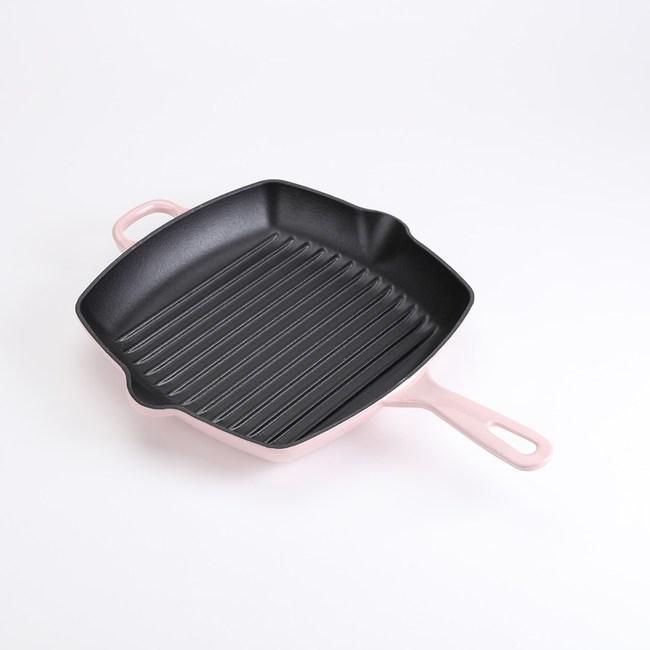 HOLA 時尚鑄鐵琺瑯方形烤盤26cm 粉