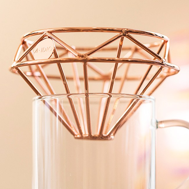 A-IDIO 鑽石咖啡濾杯 附收納袋 玫瑰金