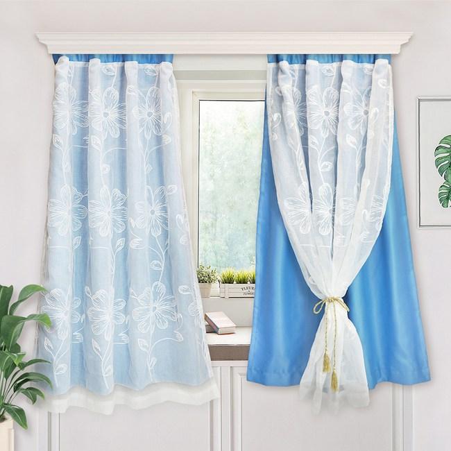【小銅板-法式花繡天藍-雙層窗簾】寬100X高130-2片入