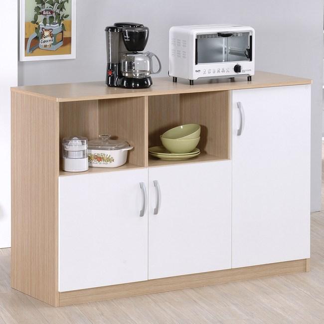 Hopma三門六格廚房櫃-白橡配白