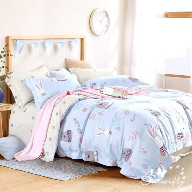 【BUTTERFLY】MIT-3M專利+頂級天絲-雙人薄床包枕套組-守望