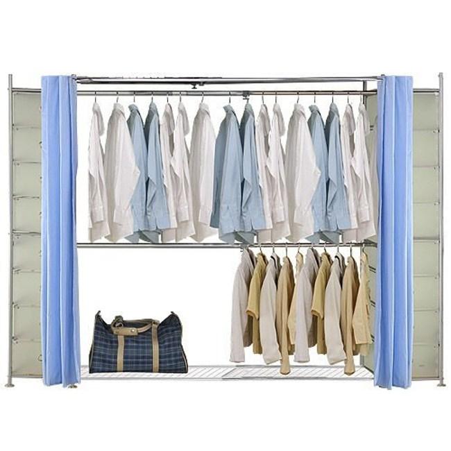 巴塞隆納─AH-45伸縮衣櫥 前布簾水藍色不織布