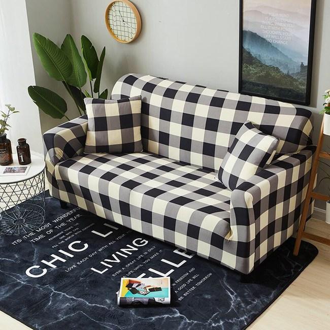 【歐卓拉】日風格紋彈性沙發套-2人