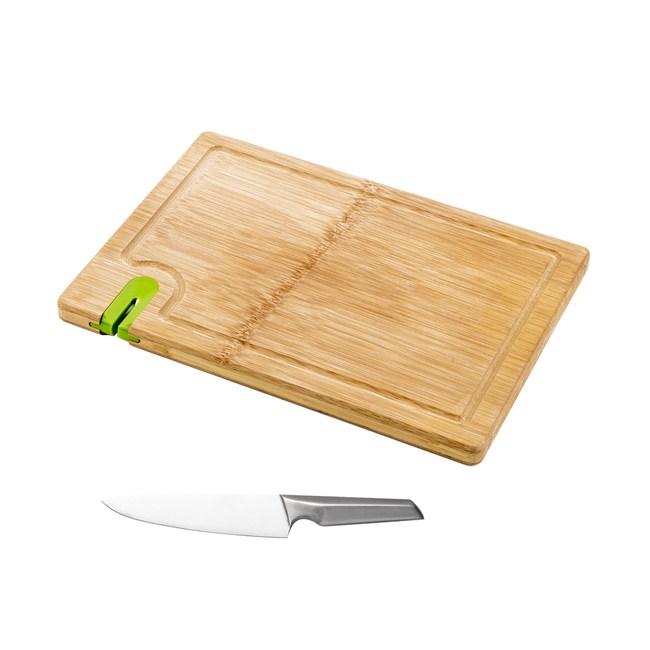 (組)爵仕不鏽鋼西式廚刀+一片竹砧板附磨刀器