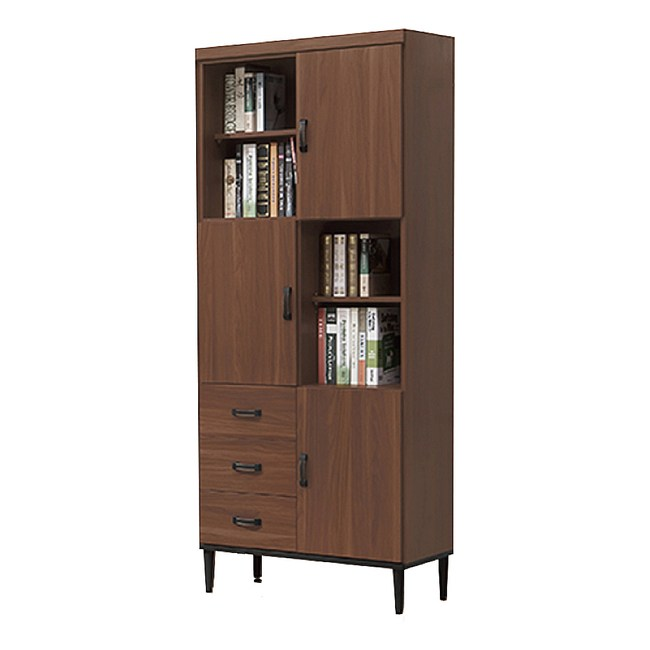 【YFS】亞德里恩2.6尺淺胡桃色書櫃-79x40.3x197cm