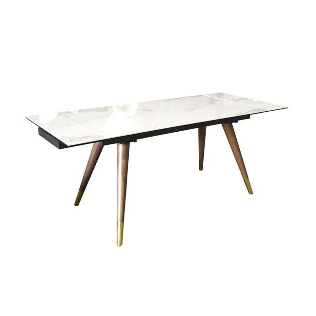 杰諾家居AronGin現代風鋼化陶瓷桌實木腳伸縮餐桌140/190cmW140xD80xH