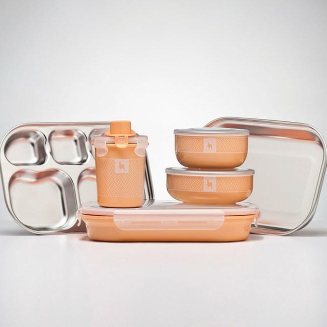 美國 Kangovou 小袋鼠不鏽鋼安全兒童餐具組-奶油橘