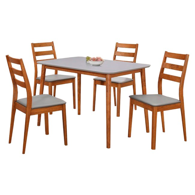【YFS】愛琳胡桃3.6尺雙色餐桌椅組110x77x74cm一桌四椅