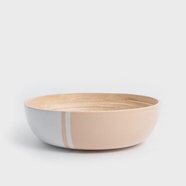 WAGA 清新南洋 30cm手工竹沙拉碗-粉嫩橘