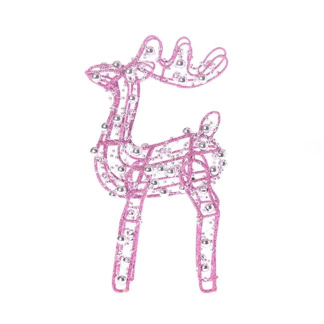 粉色抬頭麋鹿擺飾20cm