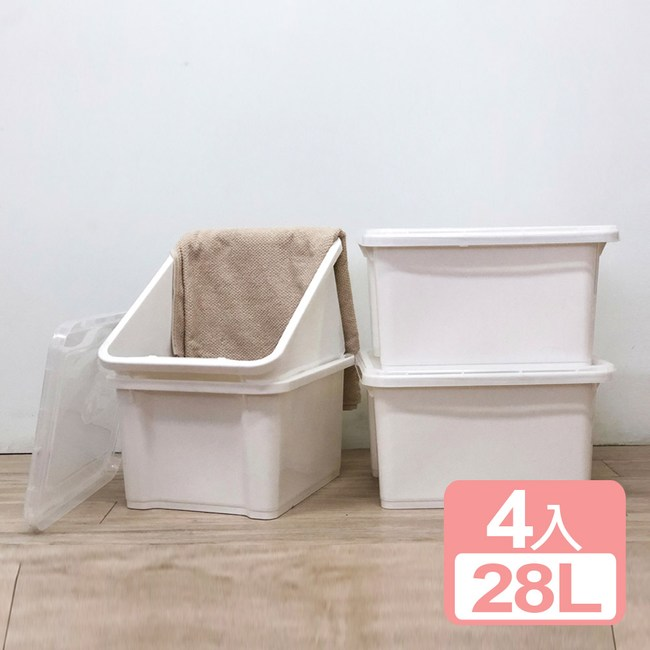《真心良品x樹德》石川雪白置物箱28L(4入)