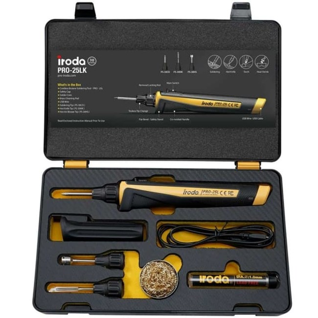 Iroda PRO-25LK 瞬熱高效型鋰電池烙鐵3件組